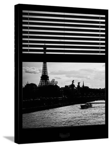 Window View - Color Sunset in Paris with the Eiffel Tower and the Seine River - France - Europe-Philippe Hugonnard-Stretched Canvas Print