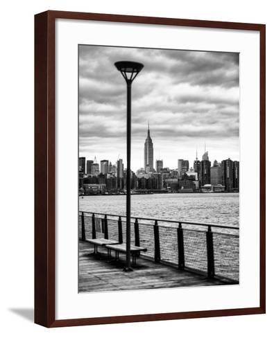 View of the Skyscrapers of Manhattan with the Empire State Building a Jetty in Brooklyn at Sunset-Philippe Hugonnard-Framed Art Print