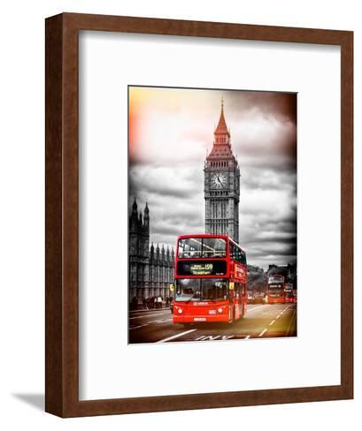 London Red Bus and Big Ben - City of London - UK - England - United Kingdom - Europe-Philippe Hugonnard-Framed Art Print