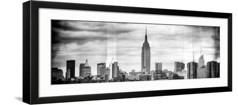 Instants of NY BW Series - Panoramic Landscape View Manhattan with the Empire State Building-Philippe Hugonnard-Framed Art Print
