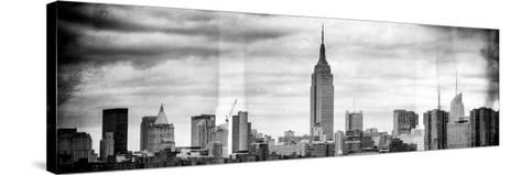 Instants of NY BW Series - Panoramic Landscape View Manhattan with the Empire State Building-Philippe Hugonnard-Stretched Canvas Print