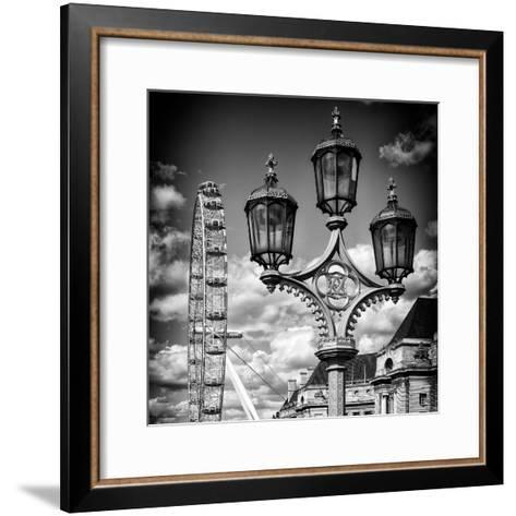 Royal Lamppost UK and London Eye - Millennium Wheel - London - UK - England - United Kingdom-Philippe Hugonnard-Framed Art Print