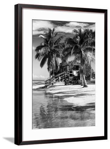 Paradisiacal Beach with a Life Guard Station - Miami - Florida-Philippe Hugonnard-Framed Art Print
