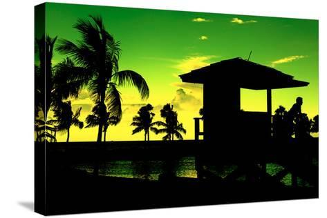 Silhouette of Life Guard Station at Sunset - Miami-Philippe Hugonnard-Stretched Canvas Print