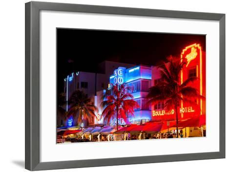 Colorful Street Life at Night - Ocean Drive - Miami-Philippe Hugonnard-Framed Art Print