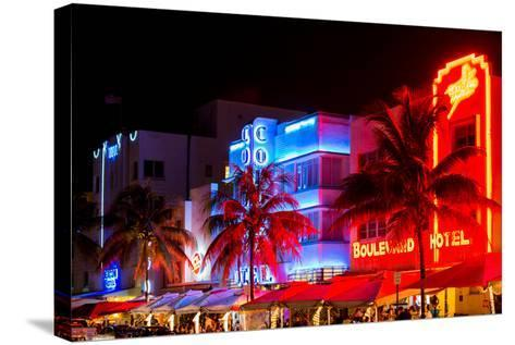 Colorful Street Life at Night - Ocean Drive - Miami-Philippe Hugonnard-Stretched Canvas Print