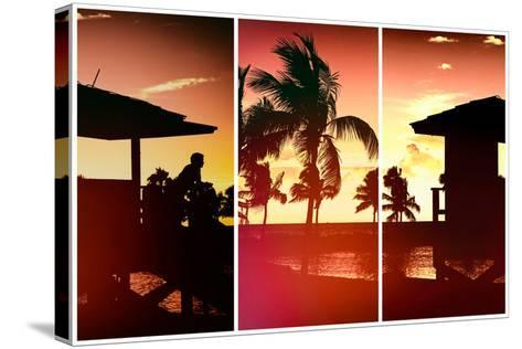 Triptych Collection - Silhouette of Life Guard Station at Sunset - Miami-Philippe Hugonnard-Stretched Canvas Print