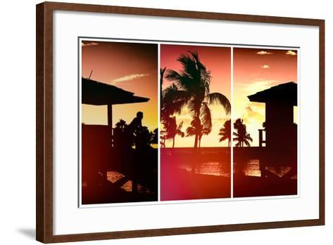 Triptych Collection - Silhouette of Life Guard Station at Sunset - Miami-Philippe Hugonnard-Framed Art Print