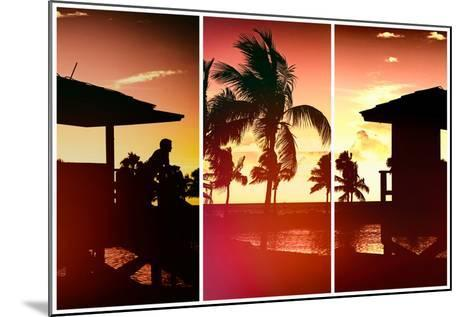 Triptych Collection - Silhouette of Life Guard Station at Sunset - Miami-Philippe Hugonnard-Mounted Photographic Print