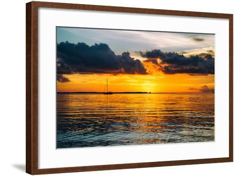 Sunset Landscape with a Yacht - Miami - Florida-Philippe Hugonnard-Framed Art Print