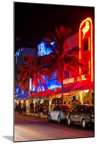 Colorful Street Life at Night - Ocean Drive - Miami-Philippe Hugonnard-Mounted Photographic Print