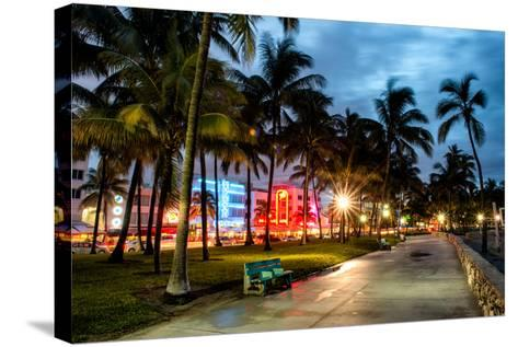 Colorful Street Life - Ocean Drive by Night - Miami-Philippe Hugonnard-Stretched Canvas Print