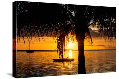 Sunset Landscape with Yacht and Floating Platform - Miami - Florida-Philippe Hugonnard-Stretched Canvas Print