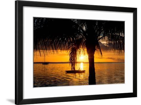 Sunset Landscape with Yacht and Floating Platform - Miami - Florida-Philippe Hugonnard-Framed Art Print