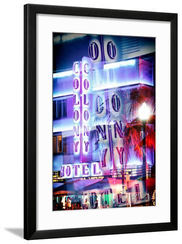 Instants of Series - Ocean Drive with the Colony Hotel by Night - Miami Beach-Philippe Hugonnard-Framed Art Print