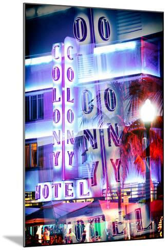 Instants of Series - Ocean Drive with the Colony Hotel by Night - Miami Beach-Philippe Hugonnard-Mounted Photographic Print