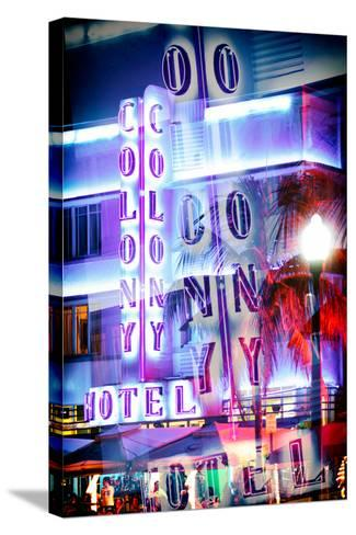 Instants of Series - Ocean Drive with the Colony Hotel by Night - Miami Beach-Philippe Hugonnard-Stretched Canvas Print