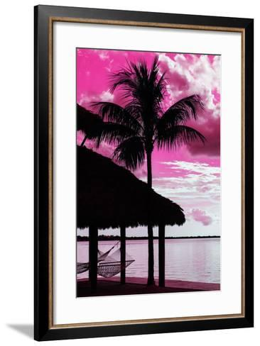 The Hammock and Palm Tree at Sunset - Beach Hut - Florida-Philippe Hugonnard-Framed Art Print