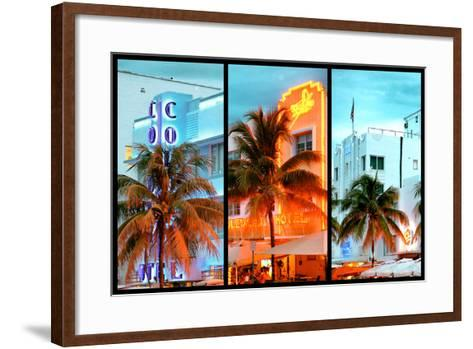 Triptych Collection - Colorful Ocean Drive - South Beach - Miami Beach Art Deco Distric - Florida-Philippe Hugonnard-Framed Art Print