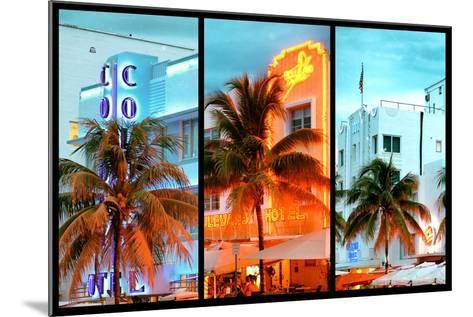 Triptych Collection - Colorful Ocean Drive - South Beach - Miami Beach Art Deco Distric - Florida-Philippe Hugonnard-Mounted Photographic Print