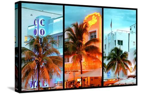 Triptych Collection - Colorful Ocean Drive - South Beach - Miami Beach Art Deco Distric - Florida-Philippe Hugonnard-Stretched Canvas Print