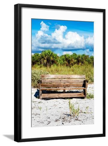 Wooden Bench overlooking a Florida wild Beach-Philippe Hugonnard-Framed Art Print