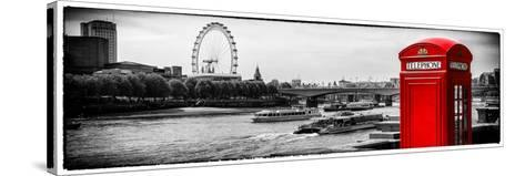 UK Landscape - Red Telephone Booth and River Thames - London - UK - England - United Kingdom-Philippe Hugonnard-Stretched Canvas Print