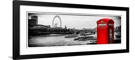 UK Landscape - Red Telephone Booth and River Thames - London - UK - England - United Kingdom-Philippe Hugonnard-Framed Art Print