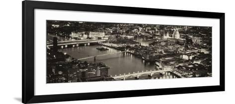 View of City of London with St. Paul's Cathedral and River Thames at Night - London - UK - England-Philippe Hugonnard-Framed Art Print