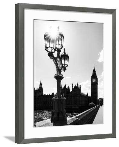 Royal Lamppost UK and Houses of Parliament and Westminster Bridge - Big Ben - London - England-Philippe Hugonnard-Framed Art Print