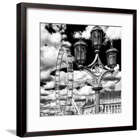 Royal Lamppost UK and London Eye - Millennium Wheel and River Thames - City of London - UK-Philippe Hugonnard-Framed Art Print