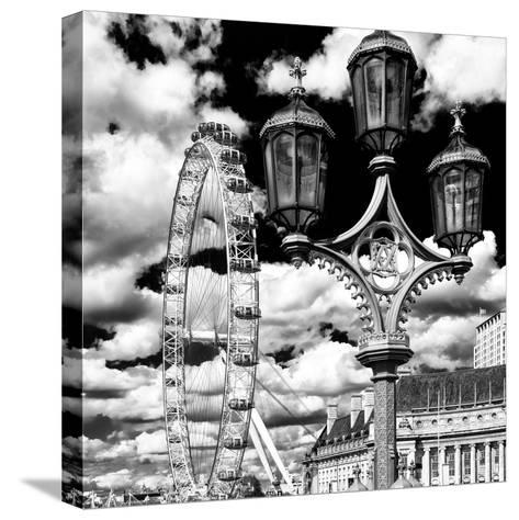 Royal Lamppost UK and London Eye - Millennium Wheel and River Thames - City of London - UK-Philippe Hugonnard-Stretched Canvas Print