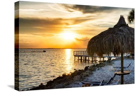 Private Beach at Sunset-Philippe Hugonnard-Stretched Canvas Print