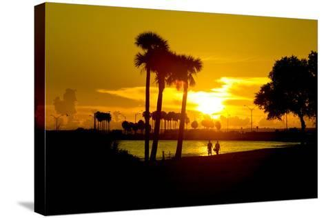 Romantic Walk along the Ocean at Sunset-Philippe Hugonnard-Stretched Canvas Print