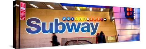 Panoramic View - Entrance of a Subway Station in Times Square - Urban Street Scene by Night-Philippe Hugonnard-Stretched Canvas Print