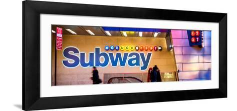 Panoramic View - Entrance of a Subway Station in Times Square - Urban Street Scene by Night-Philippe Hugonnard-Framed Art Print