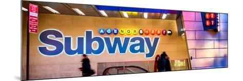 Panoramic View - Entrance of a Subway Station in Times Square - Urban Street Scene by Night-Philippe Hugonnard-Mounted Photographic Print