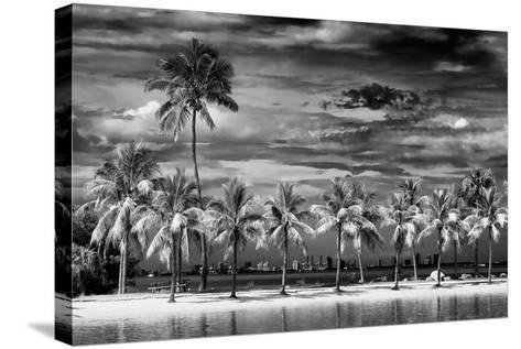 Paradisiacal Beach overlooking Downtown Miami - Florida-Philippe Hugonnard-Stretched Canvas Print