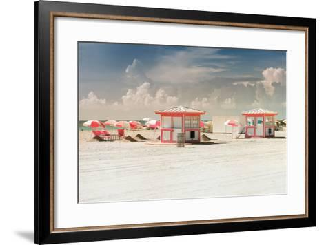 Pink Beach Houses - Miami Beach - Florida-Philippe Hugonnard-Framed Art Print