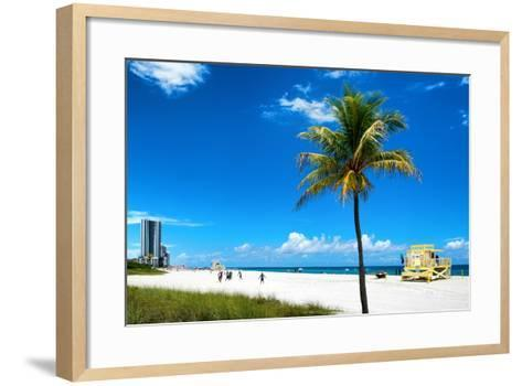 Miami Beach with Life Guard Station - Florida - USA-Philippe Hugonnard-Framed Art Print