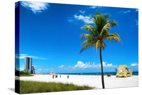 Miami Beach with Life Guard Station - Florida - USA-Philippe Hugonnard-Stretched Canvas Print