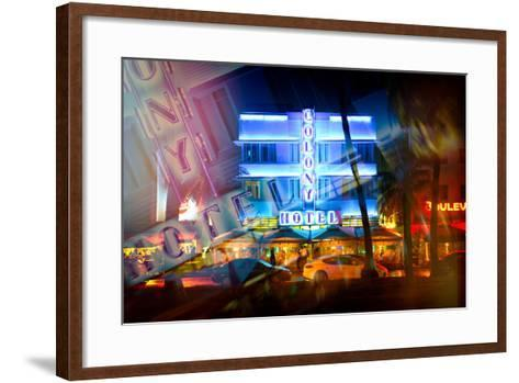 Instants of Series - Miami Beach Art Deco District - The Colony Hotel by Night - Ocean Drive - Flor-Philippe Hugonnard-Framed Art Print
