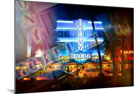 Instants of Series - Miami Beach Art Deco District - The Colony Hotel by Night - Ocean Drive - Flor-Philippe Hugonnard-Mounted Photographic Print