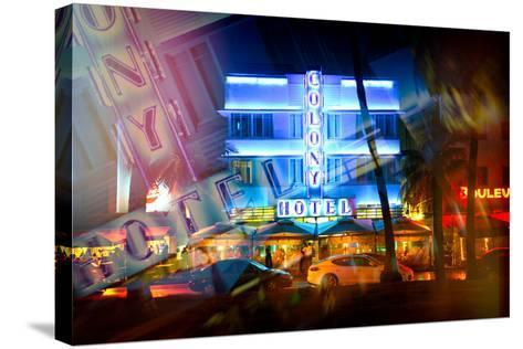 Instants of Series - Miami Beach Art Deco District - The Colony Hotel by Night - Ocean Drive - Flor-Philippe Hugonnard-Stretched Canvas Print