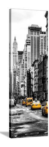 Vertical Panoramic - Door Posters - NYC Yellow Taxis / Cabs on Broadway Avenue in Manhattan-Philippe Hugonnard-Stretched Canvas Print