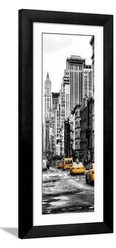 Vertical Panoramic - Door Posters - NYC Yellow Taxis / Cabs on Broadway Avenue in Manhattan-Philippe Hugonnard-Framed Art Print