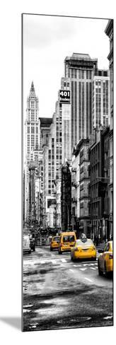 Vertical Panoramic - Door Posters - NYC Yellow Taxis / Cabs on Broadway Avenue in Manhattan-Philippe Hugonnard-Mounted Photographic Print