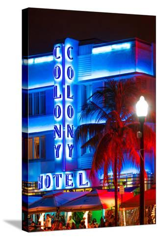 Ocean Drive with the Colony Hotel by Night - Miami Beach - Florida - USA-Philippe Hugonnard-Stretched Canvas Print