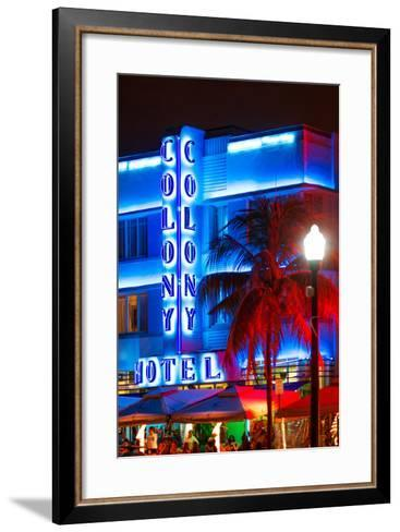 Ocean Drive with the Colony Hotel by Night - Miami Beach - Florida - USA-Philippe Hugonnard-Framed Art Print