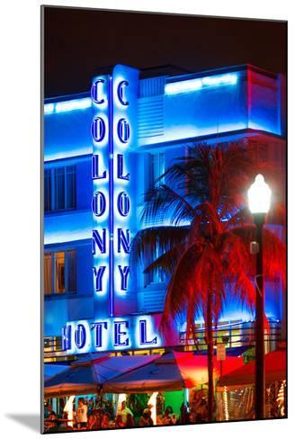 Ocean Drive with the Colony Hotel by Night - Miami Beach - Florida - USA-Philippe Hugonnard-Mounted Photographic Print